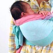 1か月の赤ちゃんをあっきースリングでまんまる抱っこ